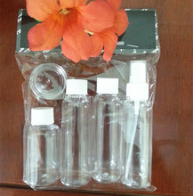 Wholesale transparent 50 80 100ml PET plastic bottles with screw cap spray and 10ml PS plastic jar 5pcs travel bottles kit