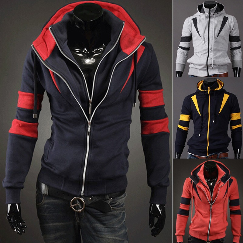Walson 2014 Hot sale casual men's double zipper hood jackets coat M- XXL