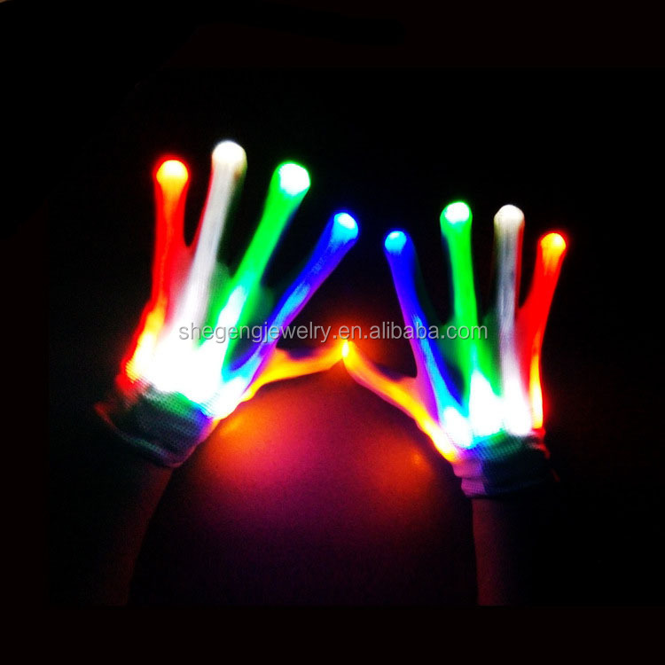 Multi-Color Electro LED Flashing Gloves Light Up Halloween Dance Rave Party Club