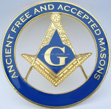 Ancient Free and Aceepted Masons Cut-Out Car Emblem, Masonic Auto Car Badge