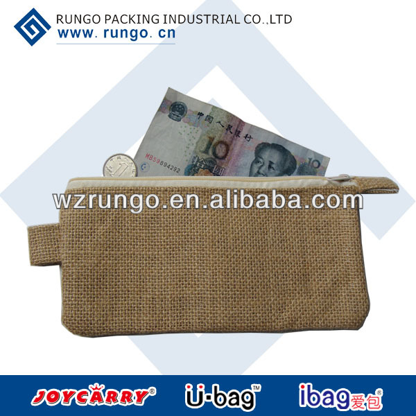 wholesales cheap small zipper gunny/linen pouch