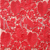 chemical embroidery fabric red color for evening dress