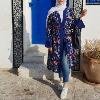 Wholesale new design 2019 popular muslim abaya dress printed floral abaya