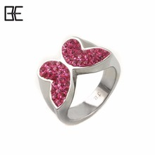 BE Fashion Pink Butterfly Wholesale Healthy Titanium Magnetic Germanium Jewelry Silver Ring For Women