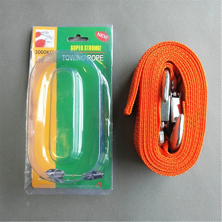 high quality hot sell car emergency tow cable heavy duty towing pull rope strap with two hooks