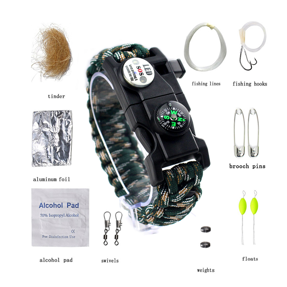 EMAK Paracord Bracelet <strong>W</strong> 16-Piece Survival Gear Kit Includes <strong>11</strong>-Piece Fishing Gear