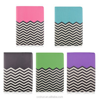 Factory Price Colorful Wave Stripes Pattern PU Leather Flip Stand Tablet Covers Case For iPad Air 2 with Elastic Belt