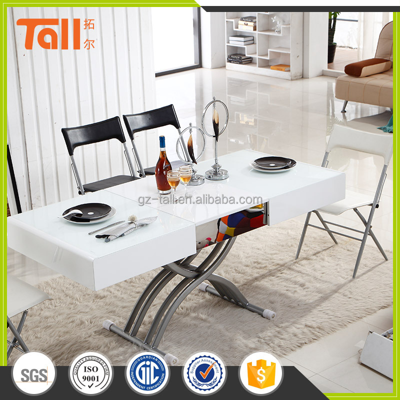Adjustable tempered glass <strong>table</strong> dinning <strong>table</strong>