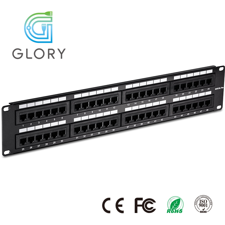 Glory 1U UTP Black RJ45 Cat5e Patch Panel <strong>Network</strong> 24 port