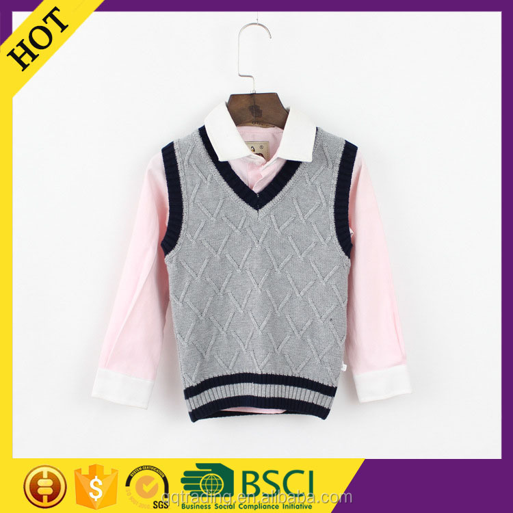 Grey color machine knitted 9GG plus size cool cheap uniform sweater vest