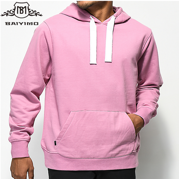 2018 Hot Selling Custom Men Kangaroo Pocket Pullover Pink Hoodie