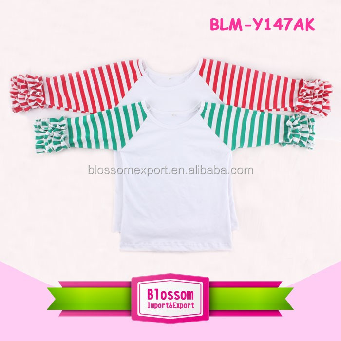 Kids wholesale icing raglan shirts christmas ruffle sleeve boutique remake toddler ruffle raglan Tee
