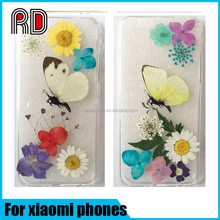 Fashion TPU Mobile Phone Case for Xiaomi Glue Dry Pressed Daisy Flower