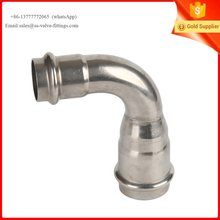 Stainless Steel press Fitting Reducer 90 Degree Elbow with DVGW