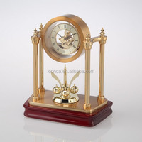 wooden stand clock with brass skeleton movement