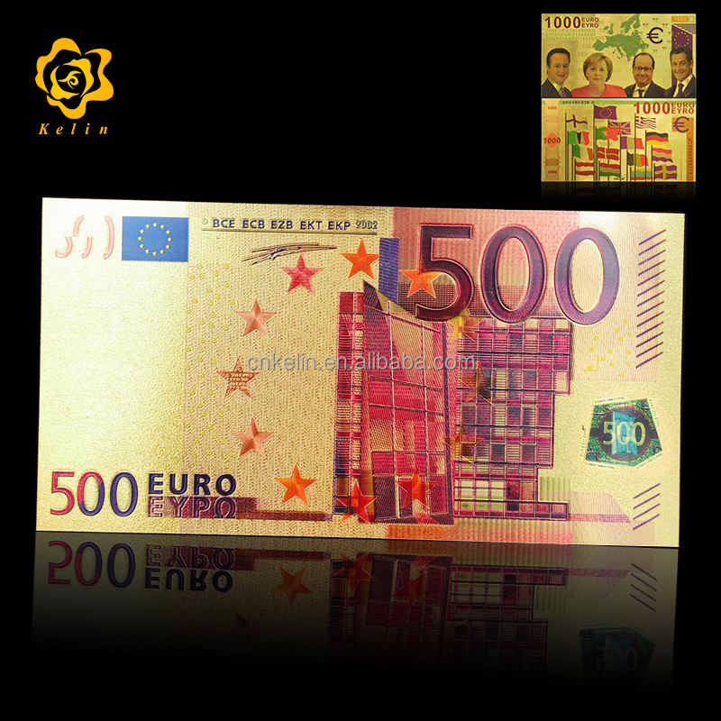 24k colored Gold foil Banknote Euro <strong>1000</strong> For Home And Office Decoration