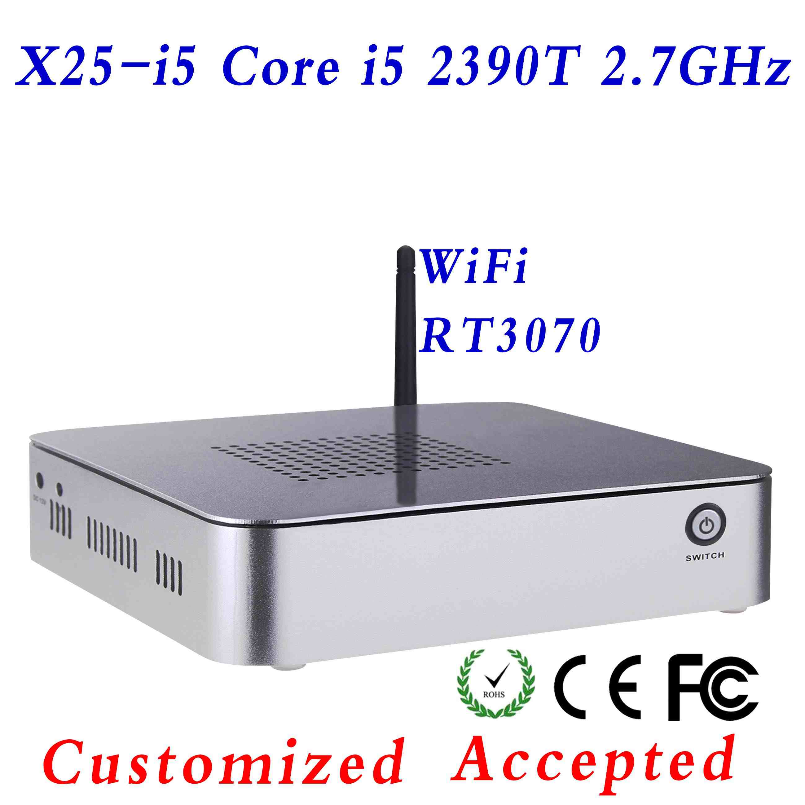 small size pc games vga mini pc mini pc desktop x25-i5 3570T support wireless keyboard, mouse and touch screen