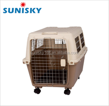 Plastic Pet Carrier large size dog travel cage with wheels