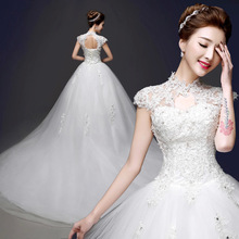 ZHF236 Sexy High Neck Long Train Lace Crystal Puffy Bridal Ball Gown Wedding Dresses