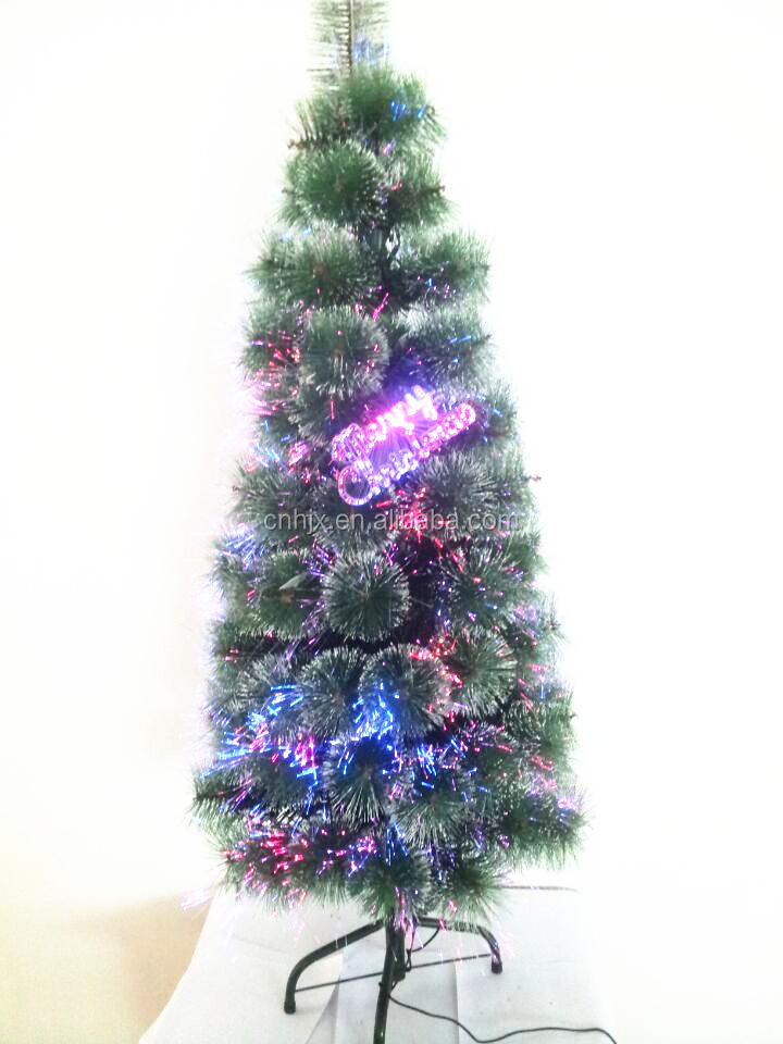 6FT Green Artificial Fiber Optic Christmas Tree With Marry Christmas Logo