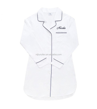 Wholesale Notched Lapels Full Length Button-up Poplin Women Nightshirts
