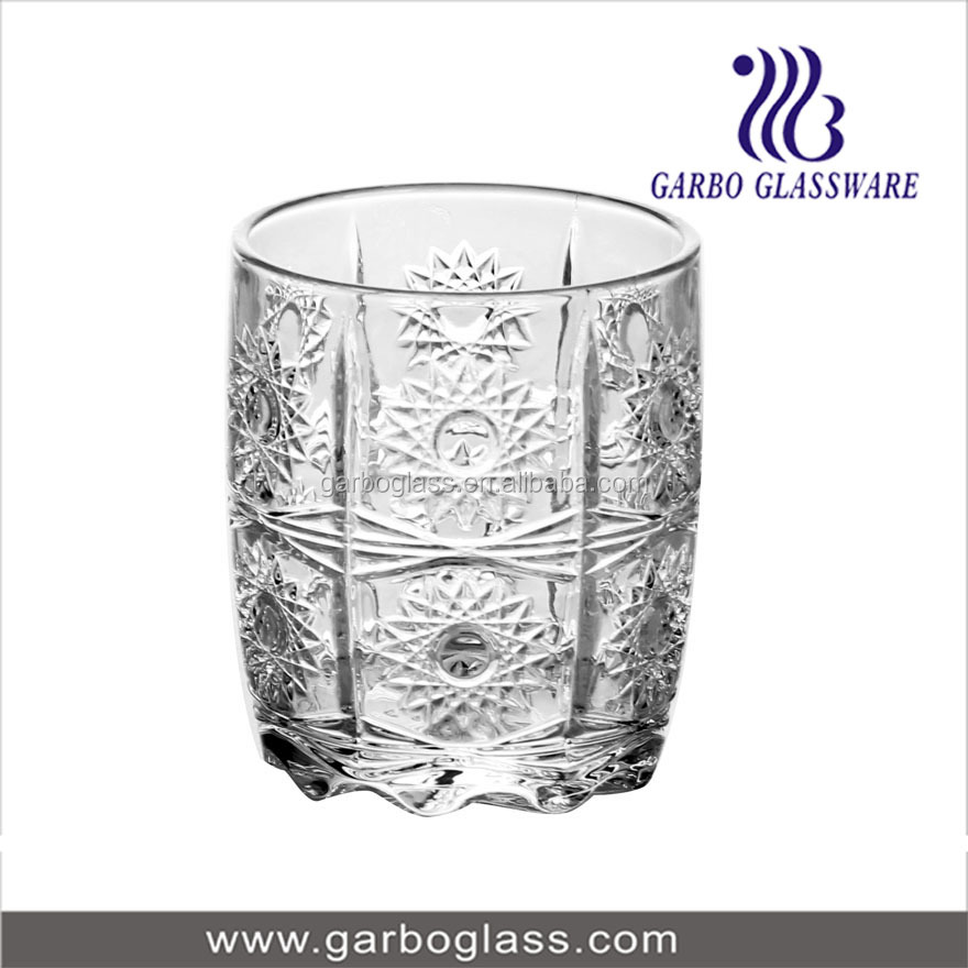 Sun design barrel shape glass tumbler , water and tea drinking glass cup