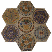 Factory hexagonal tile bathroom flower design floor wall tile