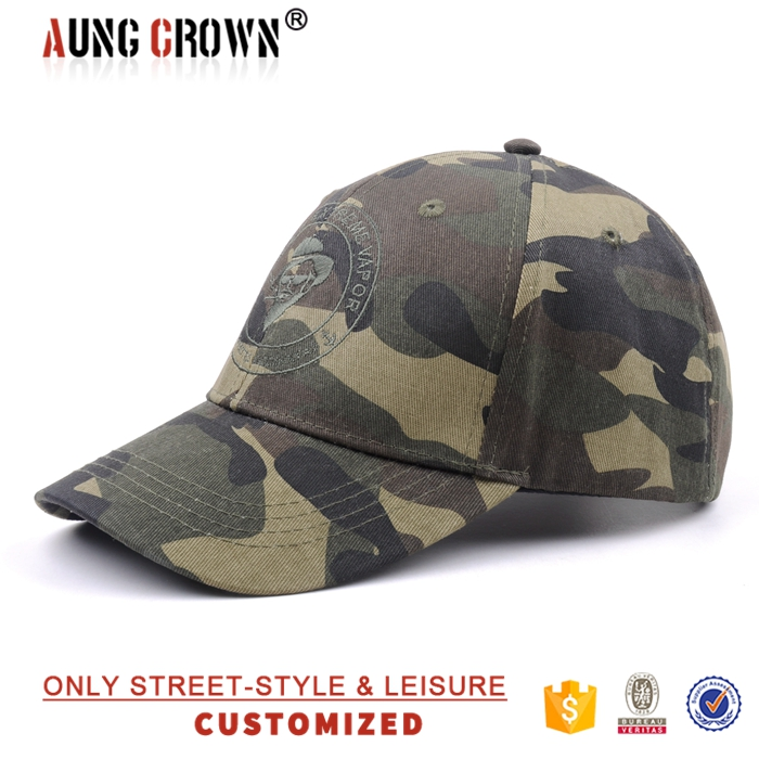 Military style 100% cotton 6 panel 3d embroidery baseball cap