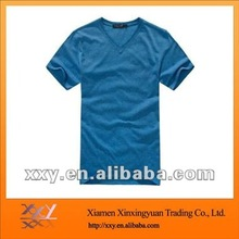 New good elasticity slim fit and v-neck spandex cotton tshirt