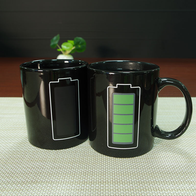 New creative product 11 oz hot water ceramic color changing coffe mug with logo printing
