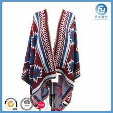 hot selling acrylic knitted cape women poncho shawl scarf