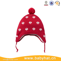 Red knit skull ski winter warm custom Infant baby beanie hat with ear flaps