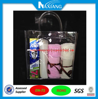 Clear plastic handle waterproof pvc recycle bags holder for body wash