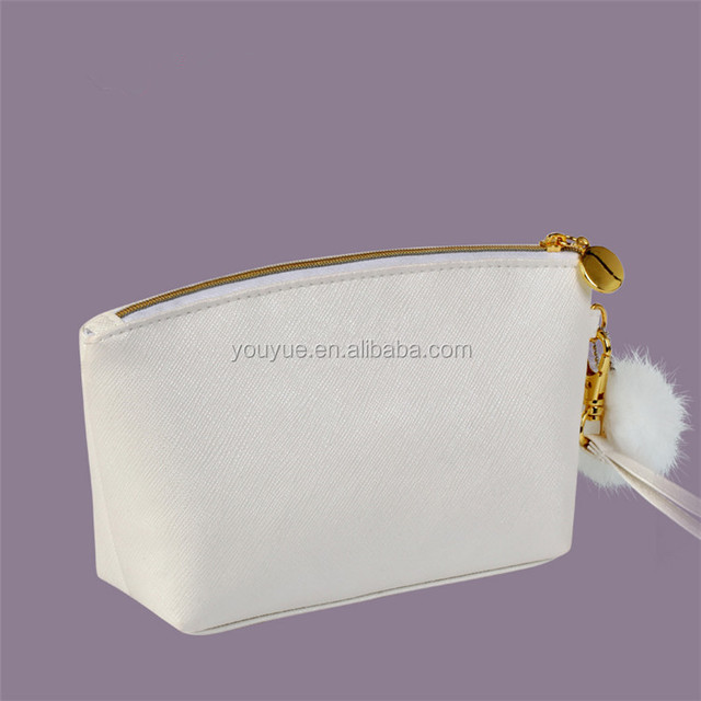 Wholesale High End PU Leather Cosmetic Bag Make up Case with Gold Zipper