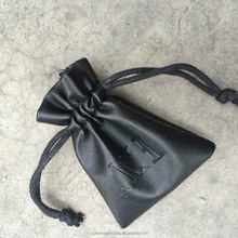 Custom Luxury Manufacturer Black Leather Jewelry Drawstring Bag