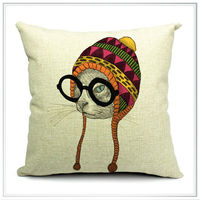 Customized high quality digital printing cotton canvas cushion covers,glass cats design