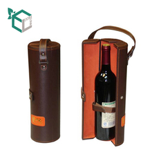 Customization fake leather high end leather handle carrier wine paper tube carrier wine box