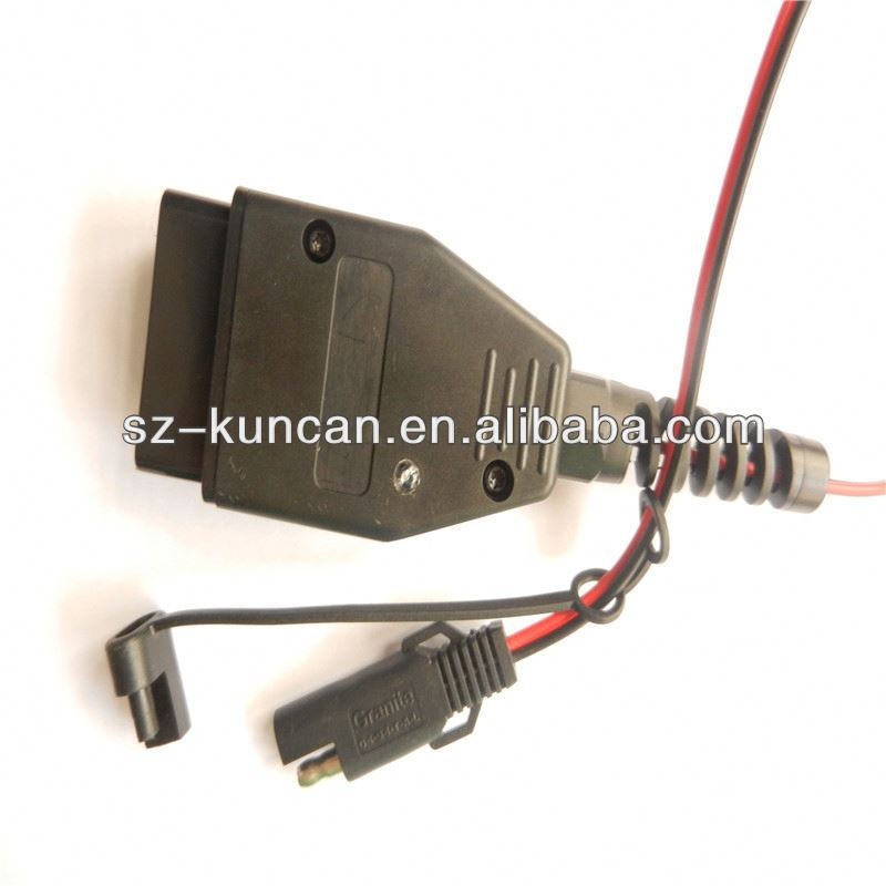 12V hds cable obd2 diagnostic cable for honda car power cable red and black with protection clip and LDE