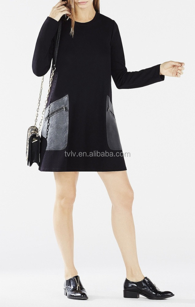 Long Sleeve Faux Leather Zipper Pockets Ladies Dress Online Shopping For Wholesale Clothing