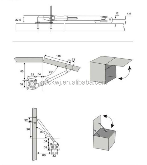 China manufacturer zinc alloy cabinet support, Furniture hydraulic lid stay A-20A