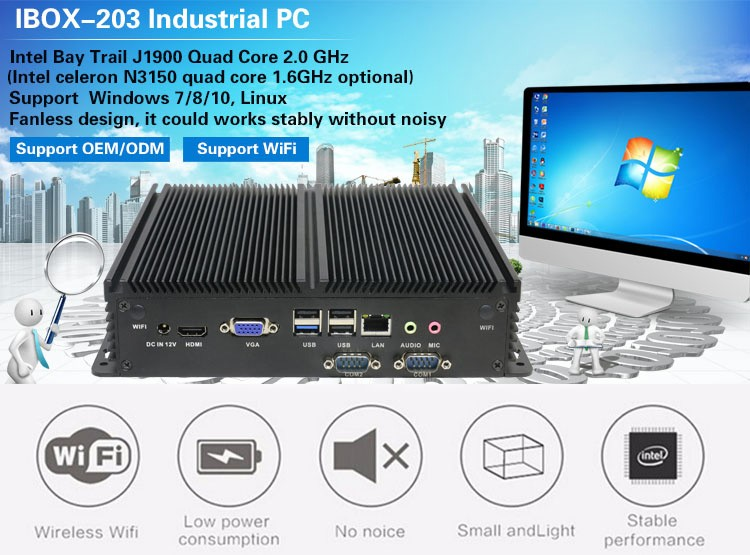 Fanless computer IBOX-203 nettop with 12V power supply mini PC