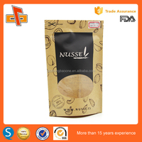 custom printed ziplock stand up kraft paper bag with window/plastic lined kraft paper bag/kraft paper bag for food