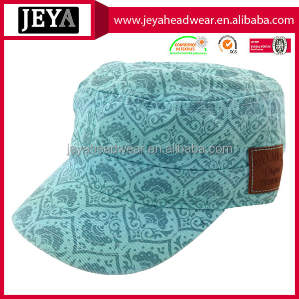 Special printing flat top baseball snapback cap real leather badge army cap military hat