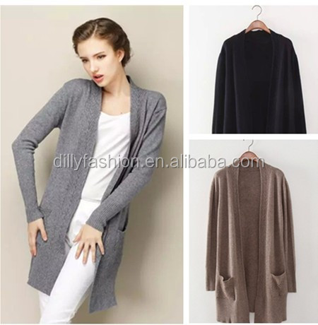 2016 women cashmere long cardigan with pocket