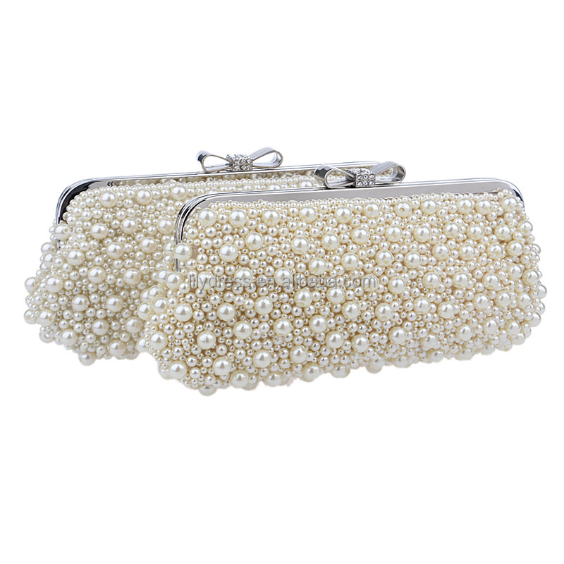 White Pearls Ladies Evening Dinner Clutch Bag Bride Bag For Wedding Evening Party Bridal HandBags B00047-1 young girls handbags
