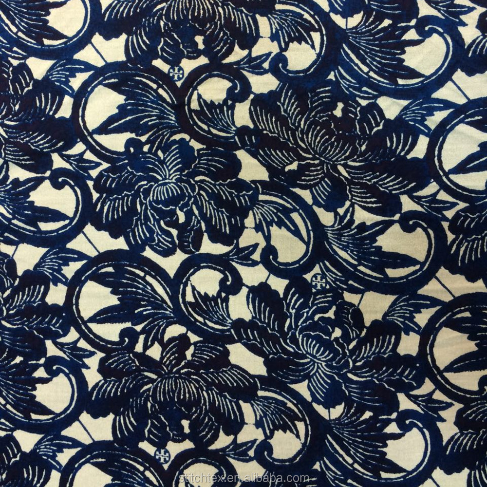 silk jersey knitted fabric 100% spun silk jersey with all over print fabric in stock