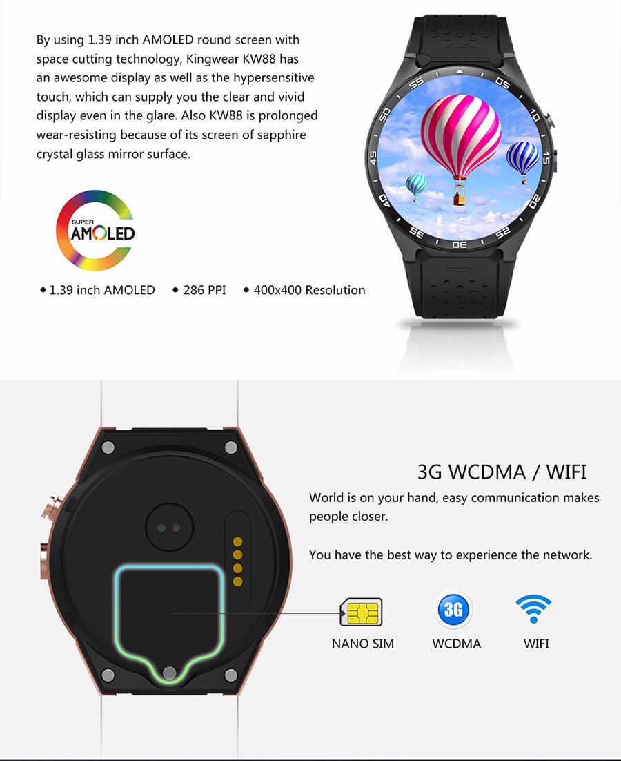KW88 3G Heart Rate Monitor 512MB RAM+4GB ROM Smart Watch Phone for iOS Android Grey