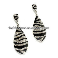 Stunning Zebra Animal Print Crystal Rhinestone Dangle Drop Earrings