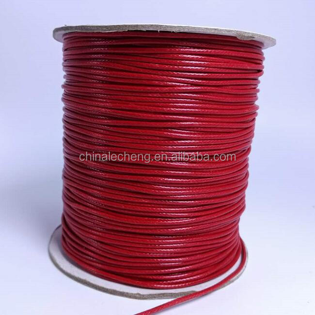 High Quality 1mm/2mm/3mm/4mm/5mm Round Cotton Waxed Cord Red for Bracelet Necklace Garments Wholesale