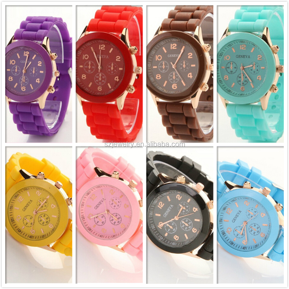 Ladies Quartz Select Fashion Custom Made Cheap Colorful Geneva Silicon Rubber Colorful Cheap Custom Watches
